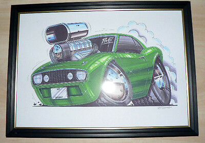 1967 Chevrolet Camero And Other Model Framed Print A4 Caricature  Gift Present
