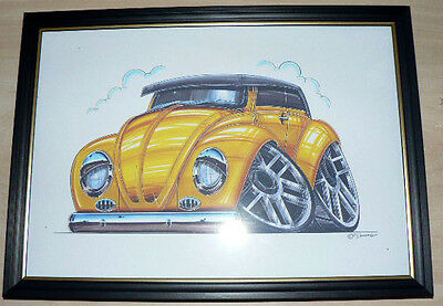 VW Beetle Various Colours and Styles Framed Print A4 Caricature Present Gift