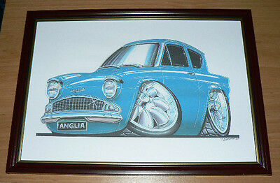 Ford Anglia 105E Various Styles Colours Framed Print A4 Caricature Gift Present