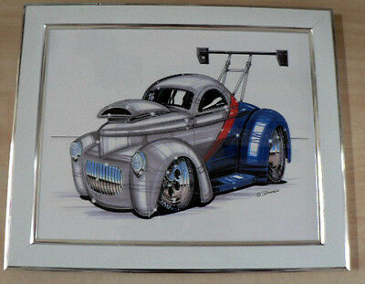 Willys Coupe in a  White Frame  Framed Print Caricature Present Gift