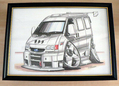 Customised Ford Transit  Framed Print A4 Caricature Gift Present