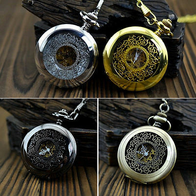 Simple Skeleton Unisex Men Women Mechanical Pocket Watch Roman Numeral Nice Gift