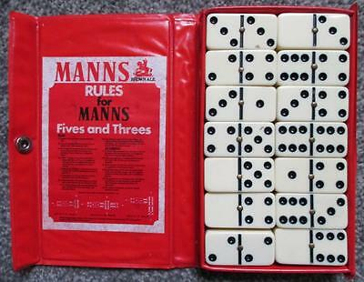 Manns Brown Ale Double Six Set Dominoes Boxed Plastic With Metal Studs 1979