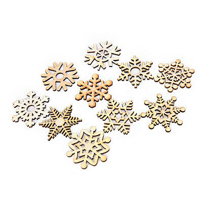 10 Assorted Wooden Snowflake Laser Cut Christmas Tree Hanging Decor Ornament New