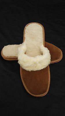 Womens ladies sheepskin real suede leather slippers wool shoes brown