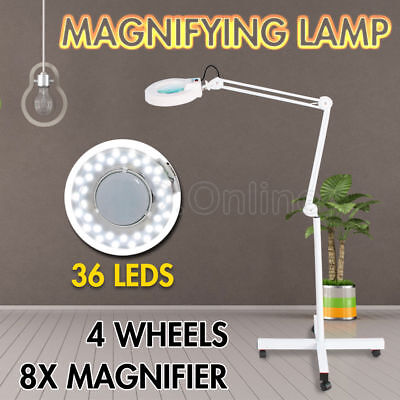 Magnifying Lamp Glass Lens Round Head 36 LED Light 8x Magnifier On Stand NEW