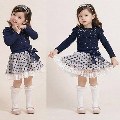 2PCS Toddler Kids Baby Girls Outfits Clothes T-shirt Tops+Tutu Skirt Dress Sets