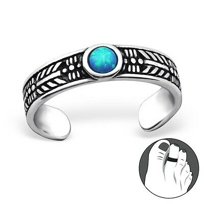 Turquoise Round Stone Sterling Silver Adjustable Toe Ring