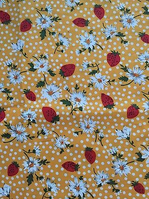 Cotton poplin fabric, yellow with strawberries, flowers and polka dots, 2 metres