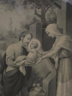 Beautiful Vintage French  Religious  Framed  Picture / Print~  1930's