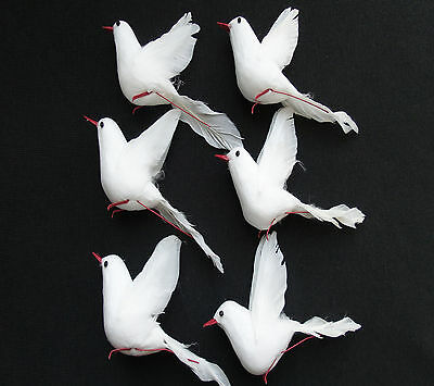 6 White Dove Artificial Feather White Bird Christmas Tree Decoration Craft Peace