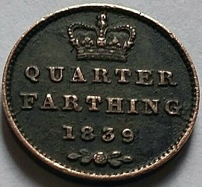 Queen Victoria  Very Old Coin Of Quarter Farthing 1839 Condition Very Good.