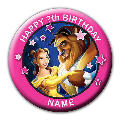 Personalised Beauty And The Beast Birthday Badges / Fridge Magnet / Mirror Gift