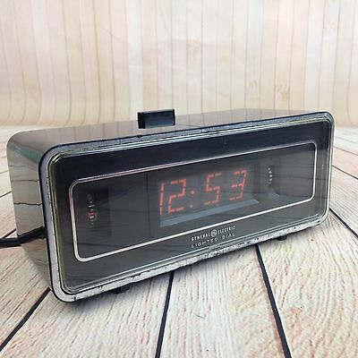 Vintage Flip Dial Alarm Clock Red Lighted GE General Electric Antique