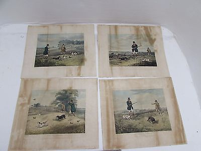 Set Of 4 Henry Alken Partridge Shooting Prints Engraved C Bentley 1835