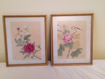 VINTAGE ORIENTAL CHINESE JAPANESE ASIAN SILK PAINTING FRAMED 2 pieces
