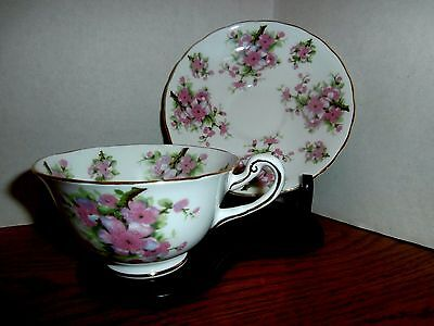 VINTAGE ROYAL CHELSEA TEA CUP w/ SAUCER   EX COND 4284A  PINK FLOWERS