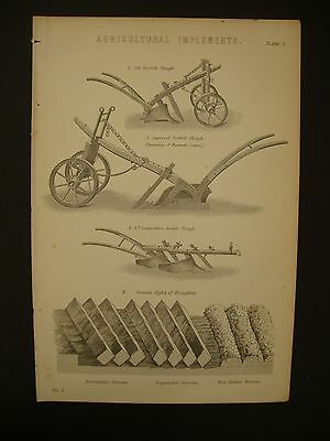 Victorian Farming print from Agricultural Implements c1890 Ploughs & Ploughing