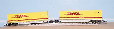 ROCO HO  Articulated flat cars type SGGMRS. OBB livery.DHL containers.