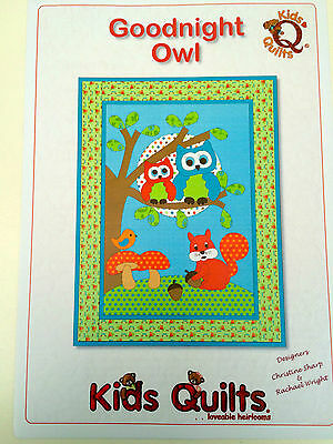 Goodnight Owl Children's Wall Quilt  Applique Pattern By Kids Quilts New Zealand