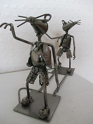 Modern - Quirky Metal Sculpture - Figure of Dancing Mice (11.8inches)