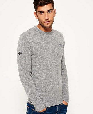 New Mens Superdry Harlo Crew Neck Jumper Grey Marl