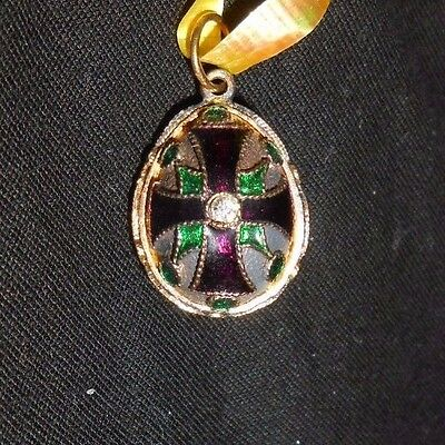 Russian Faberge Egg Pendant Gold Plated Purple Enamel White Sparkling Crystals