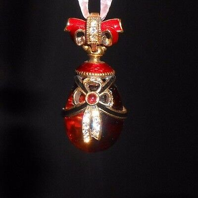 """Russian Faberge Egg Pendant Gold Plated Enamel Amber White Crystal Bow 1.25"""""""
