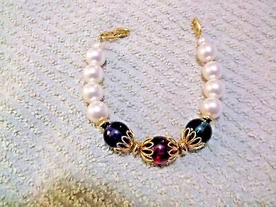 Vintage Napier Signed Faux Pearl Bracelet With Red, Green & Blue Beads