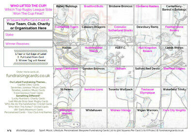 10 `Cup Winners` Rugby League Fundraising/Scratch Cards - for Club, Pub, Charity