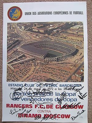 Rangers v Moscow Dynamo 1972 E C W C Final Fully Autographed Match Poster