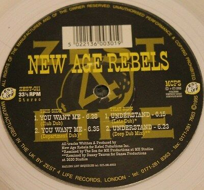 """NEW AGE REBELS * YOU WANT ME * Classic Deep House 12"""" Clear Vinyl"""
