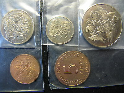 Trinidad & Tobago 5 Coin Proof Set, Ps1 Dated 1966, All Coins Bu