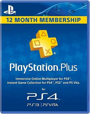 12 Month / 1 Year PlayStation Plus Membership USA, Canada, Mexico PS4 PS3 Vita