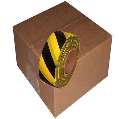 Black / Yellow Safety Stripe 12 Rolls Flagging Tape 1 3/16 in x 300 ft