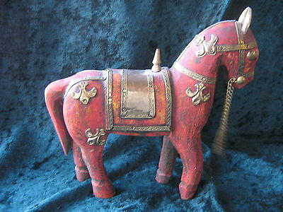 VINTAGE WOODEN HORSE INLAID w BRASS ~ TREEN~ HAND CARVED ~ RUSTIC