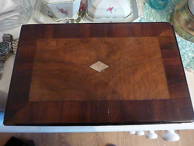 Antique Victorian Mahogany  & Mother Of Pearl Crossbanded Work Box