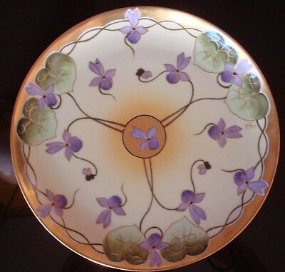 "Limoges  Stouffer Studio Hand Painted Plate, Signed ""gust"" , Violets, 8 1/2"""