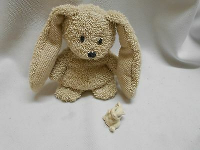 2 Russ Easter bunny rabbits doll terry cloth and resin figure miniature