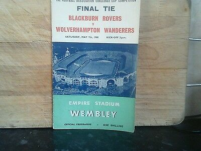 Wolverhampton Wanderers V Blackburn Rovers. FA Cup Final Programme 1960. RARE.