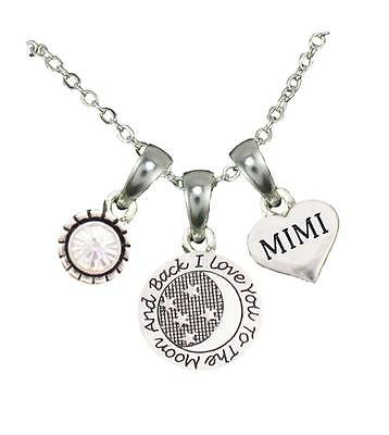 Mimi Love You To The Moon Silver Chain Necklace Heart Jewelry Grandmother Gift