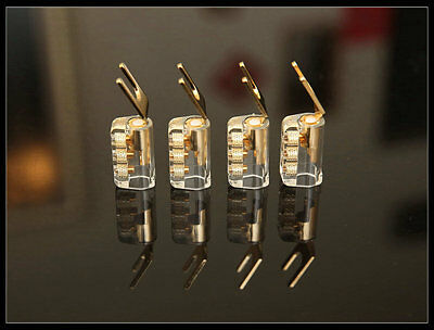 MS Audio Gold Plated Pure Copper Speaker Spade Plugs Solder Free Design-- 4 PCs