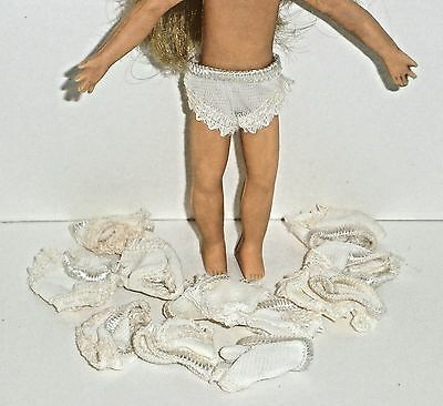 """Vintage Barbie WHITE TUTTI-SIZE DOLL PANTIES Lot Of 12 *Fits 4"""" Pee Wee"""