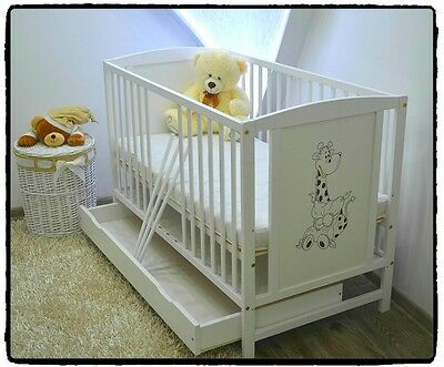 NEW BABY Cot Bed With Drawer Wood White Pine Mattress High Adjustable