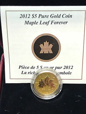 2012 Pure Gold $5 Maple Leaf Forever - Mint in Box from the RCM