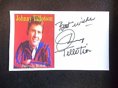 """""""Poetry In Motion"""" Johnny Tillotson Autographed 3x5 Index Card"""