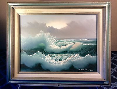 Fine Vintage Oil on Canvas Framed Painting ~Luminous Seascape ~Signed T. Winston