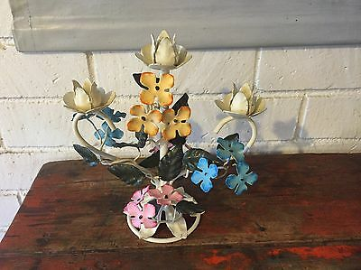 Vintage Italian Tole Candleholder W/ Flowers Pink Blue & Yellow Italian Italy