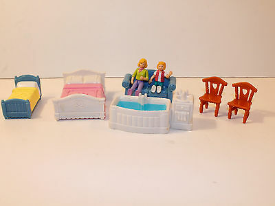 Fisher Price Sweet Streets Dollhouse Furniture Lot Beds Bathtub Chairs
