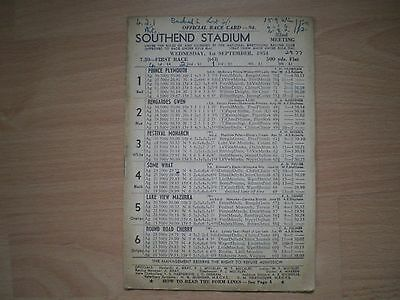 Southend Stadium Official Racecard - September 1954 - Greyhound Racing